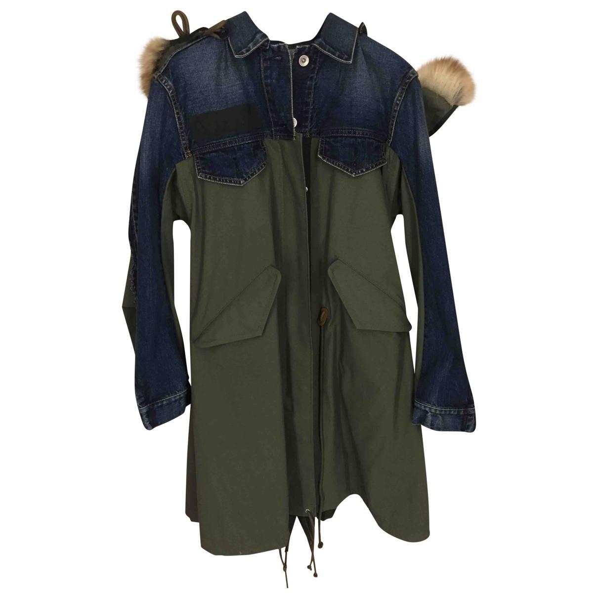 Sacai - Manteau   pour femme en coton - vert