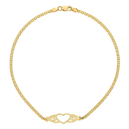 14K Gold 10 Inch Solid Heart Ankle Bracelet, One Size , No Color Family