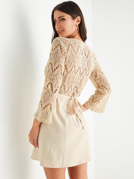 YOINS Beige Lace Patchwork Belt Design V-neck Long Sleeves Dress