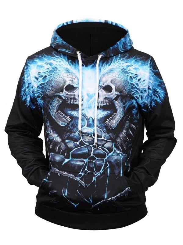 Unisex 3D Graphic Printed Hoodies with Pockets Cool Skull Printed Athletic Pullover Sweatshirt Hoodies