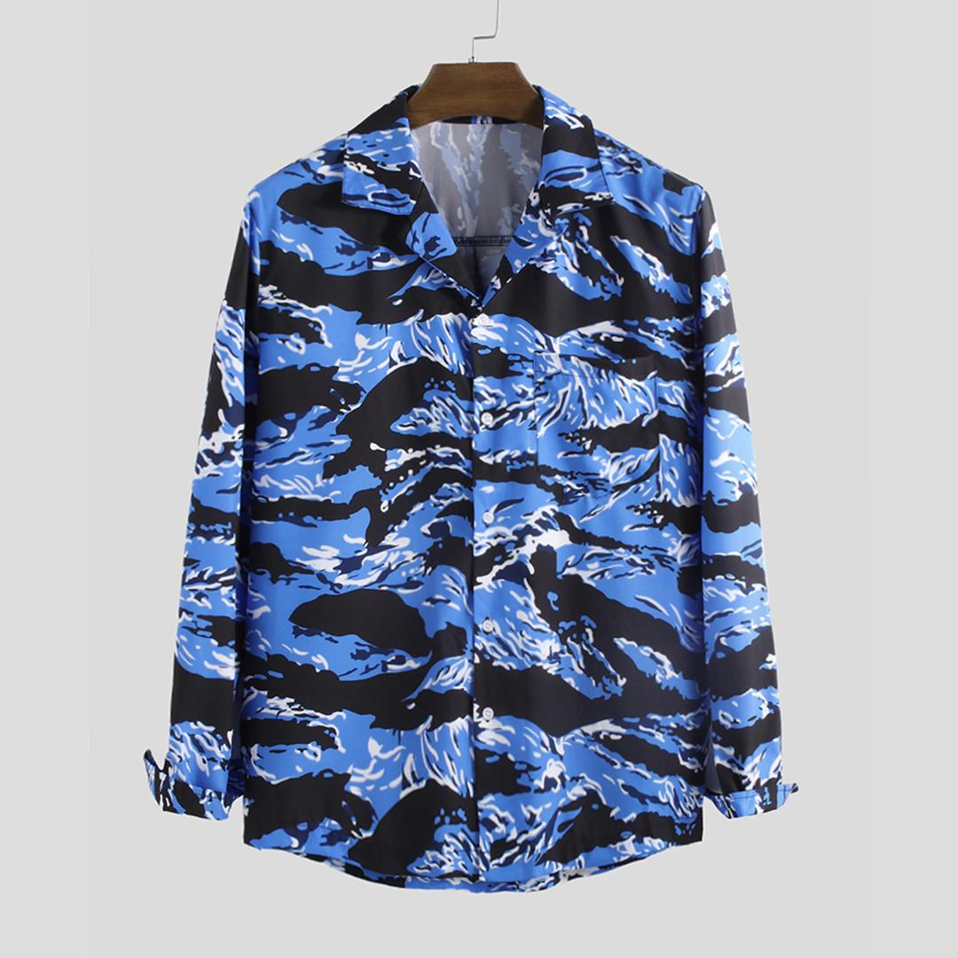 Men Camouflage Long Sleeve Revere Shirts