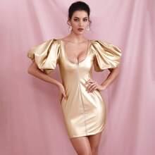 Zip Up Puff Sleeve Scoop Neck Leather Look Dress