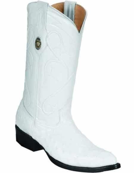 Men's J Toe Style Quill Skin White Handmade Full Leather Lining Boot