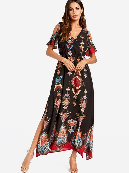 Yoins Black Slit Design Tribal Print Cold Shoulder V-neck Maxi Dress