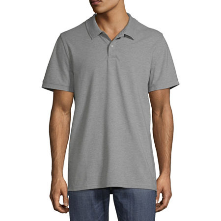 St. John's Bay Premium Stretch Mens Short Sleeve Polo Shirt, Large , Gray