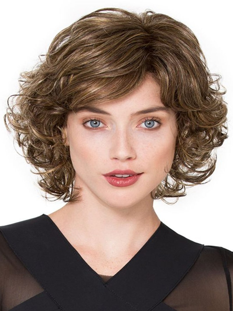 Ericdress Sexy Womens Side Part Short Bob Curly Hairstyles Human Hair Lace Front Cap Wigs 14Inch