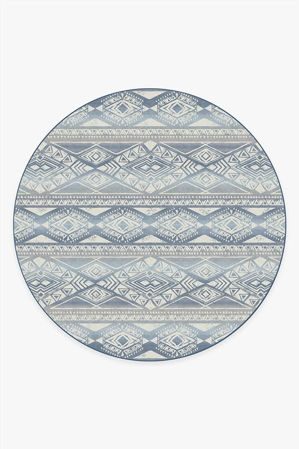 Washable Rug Cover & Pad | Suku Blue Rug | Stain-Resistant | Ruggable | 8' Round