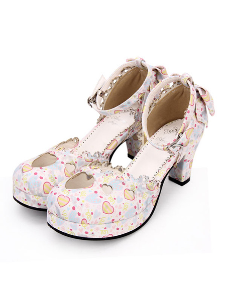 Milanoo Sweet Lolita Pumps Sweetheart Cut Out Print Correa de tobillo Chunky Heel Lolita Zapatos