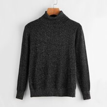 Pullover mit Glitzer, Rollkragen und langen Ärmeln