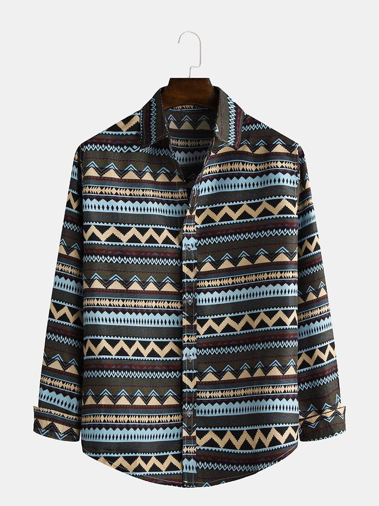 Mens Fashion Ethnic Style Regular Wave Line Printing Long Sleeve Lapel Shirt