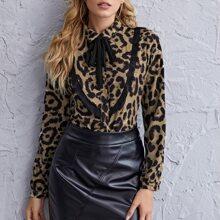 Blusas Lazo delantero Leopardo Elegante