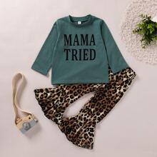 Toddler Girls Letter Graphic Tee & Leopard Flare Leg Pants