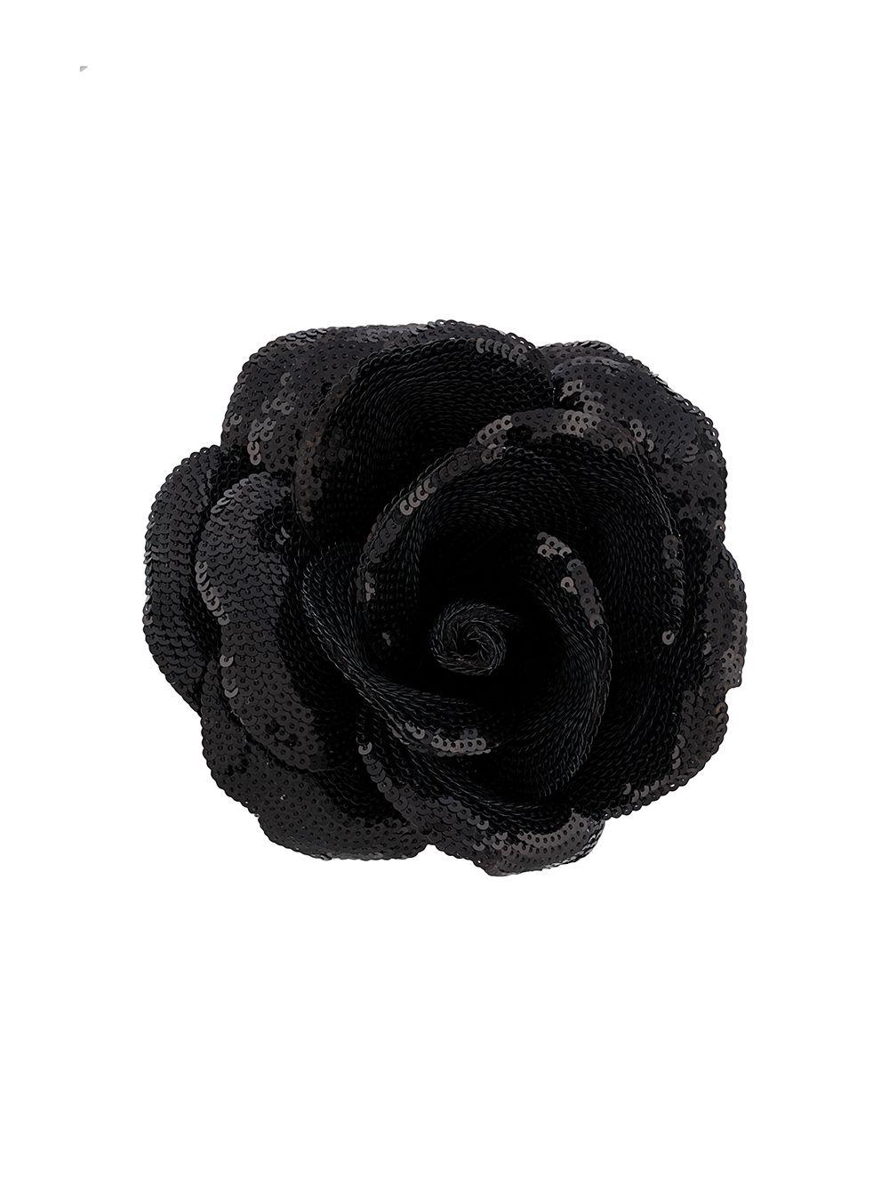 Sequin-embellished Rose Brooch