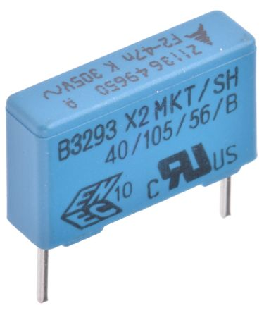 EPCOS 47nF Polyester Capacitor PET 305V ac ±10% (5)