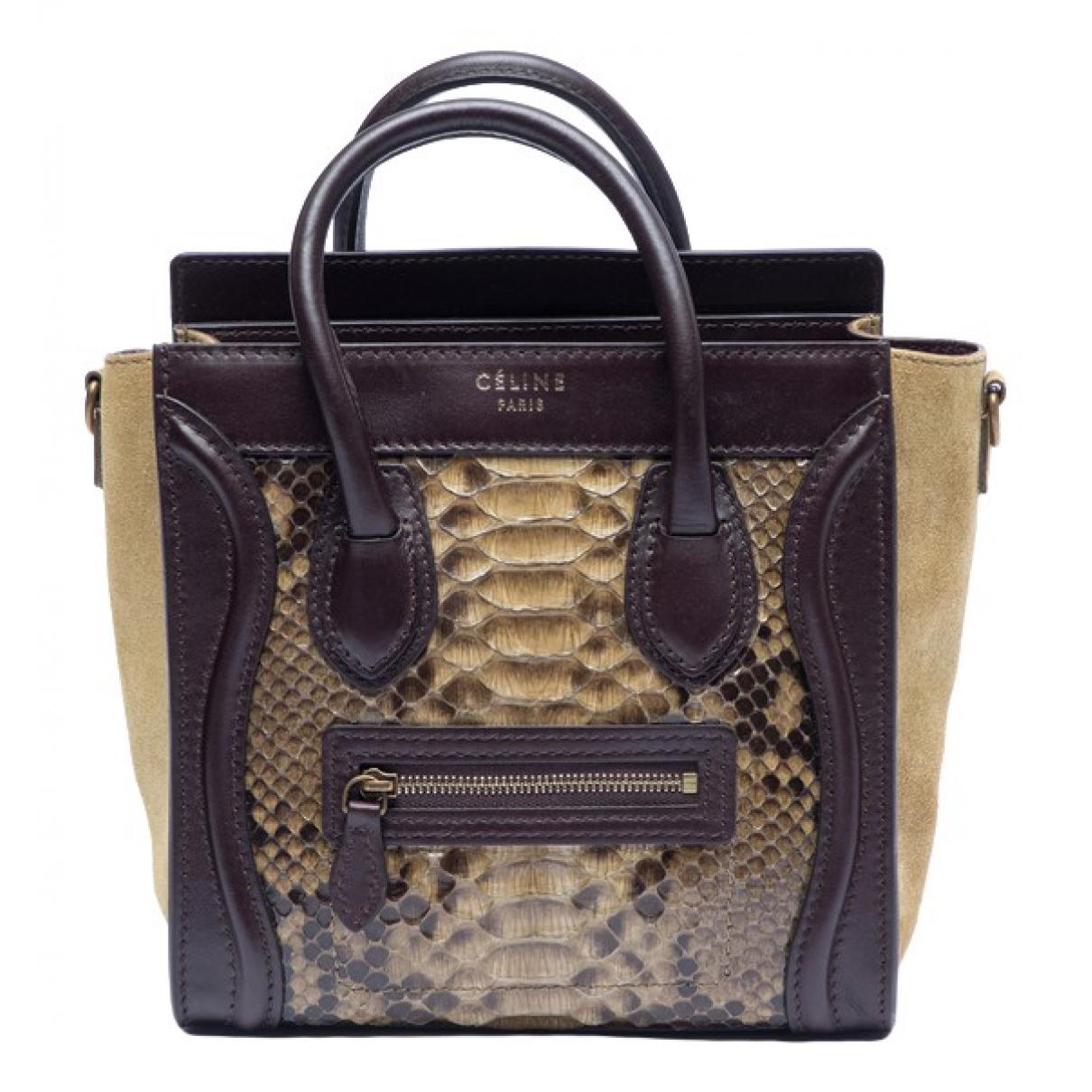 Celine - Sac a main Luggage pour femme en python - beige