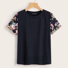 Camiseta de manga con estampado floral - grande