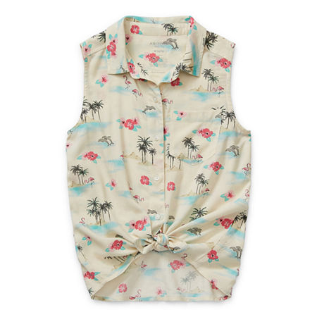 Arizona Little & Big Girls Sleeveless Button-Down Shirt, Medium (10-12) , White