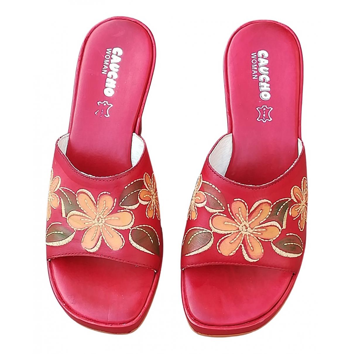 - Sandales   pour femme en cuir - rouge
