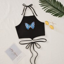 Butterfly Print Knot Halter Top