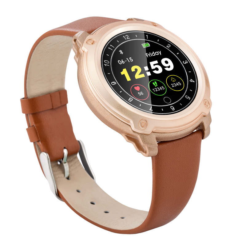 Touch-Screen Leather Band Sleep Tracker Waterproof Smart Watch