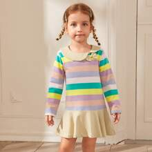 Toddler Girls Rainbow Striped Bow Front Smock Dress