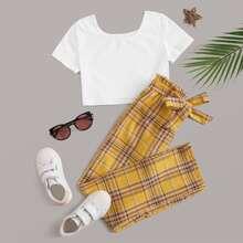 Maedchen Crop T-Shirt und Hosen Set