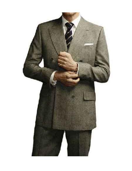 Men's Kingsman Double Breasted Grey Peak Lapel Button Closure Suit
