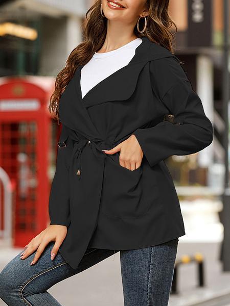 Milanoo Women Lightweight Jackets Pink Hooded Long Sleeve Drawstring Short Jacket