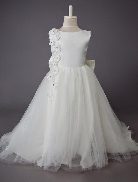 Milanoo Boda Vestido de niña de flores Niños Vestidos de fiesta formales Encaje Hasta el suelo Princesa Vestido con lazo