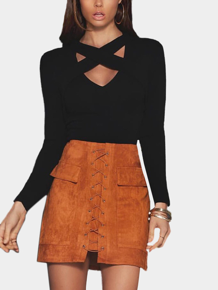 Yoins Black Crossed Front Body-con Cropped Top
