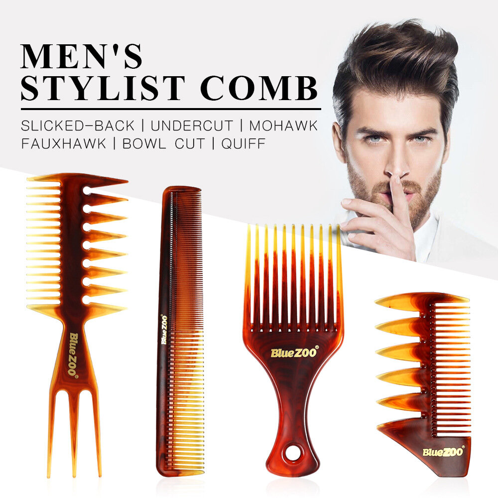 4PCS Hair Comb Set Heat-resistant Amber Hairdressing Comb Large Comb For Men Hair Styling Tool Set