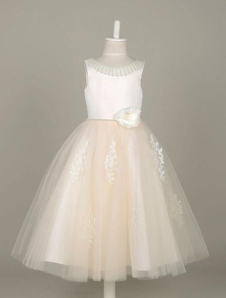 Milanoo Flower Girl Dresses Lace Applique Tulle Pearls Beading Tutu Dress Ivory Sleeveless Flower Toddler's Dinner Dress