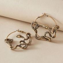 1pair Serpentine Hoop Earrings