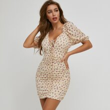Puff Sleeve Lace Up Knot Ditsy Floral Bodycon Dress