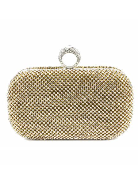 Milanoo Party Handbags Rhinestones Geometric Rhinestone Magnetic Snap Closure Sweet Special Occasion Handbags