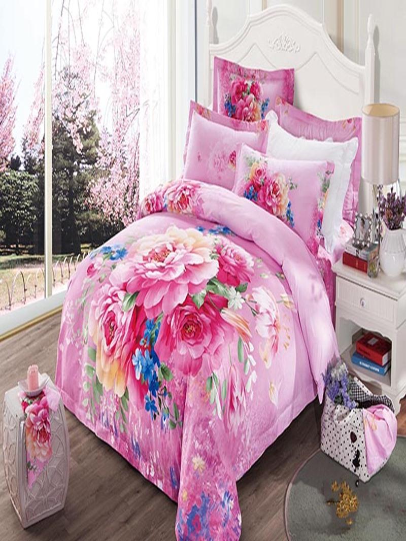 Vivilinen 3D Blooming Peonies Printed Cotton 4-Piece Blue/Pink Bedding Sets