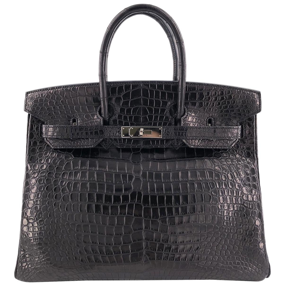 Hermes Birkin 35 Handtasche in  Schwarz Krokodil