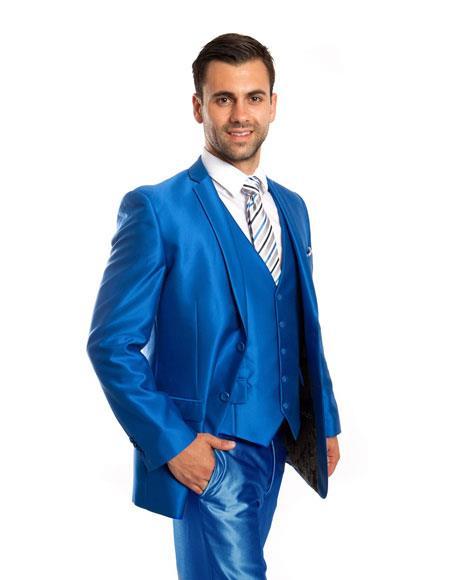 Men's Silky Shiny 2 Button Single 3 Piece Suit Slim Fit Blue Suit