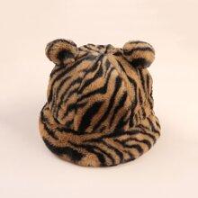 Bear Ear Tiger Pattern Fluffy Bucket Hat