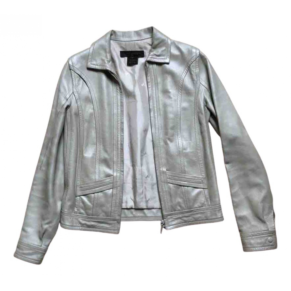 Louis Vuitton \N Silver Leather Leather jacket for Women 36 FR