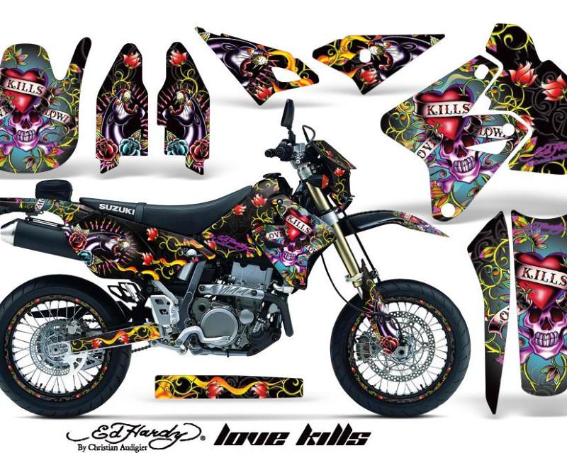 AMR Racing Graphics MX-NP-SUZ-DRZ400SM-00-18-EDHLK K Kit Decal Sticker Wrap + # Plates For Suzuki DRZ400SM 2000-2018 EDHLK BLACK