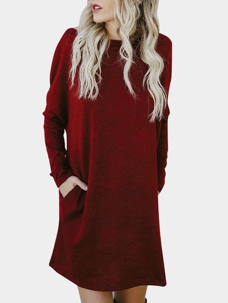 Yoins Burgundy Side Pockets One Shoulder Mini Dress