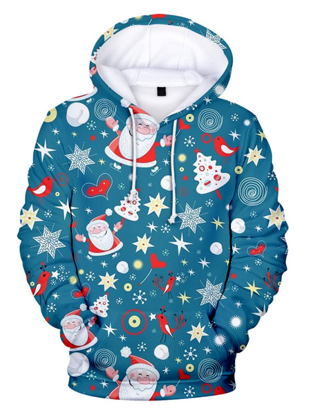 Milanoo Unisex Christmas Hoodie Teal Christmas Print Long Sleeve Holidays Costumes