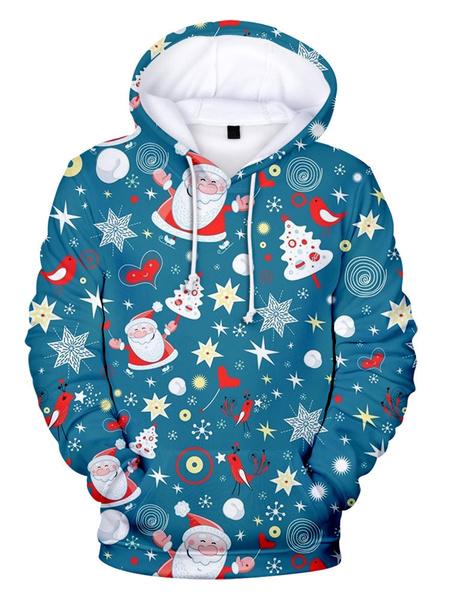 Milanoo Disfraz Halloween Sudadera Unisex con capucha de Navidad Verde azulado Estampado navideño Trajes de vacaciones de manga larga Carnaval Hallowe