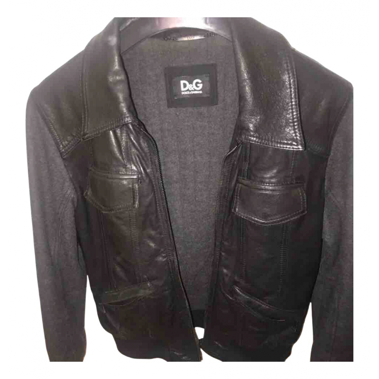 D&g N Black Leather jacket  for Men 48 IT