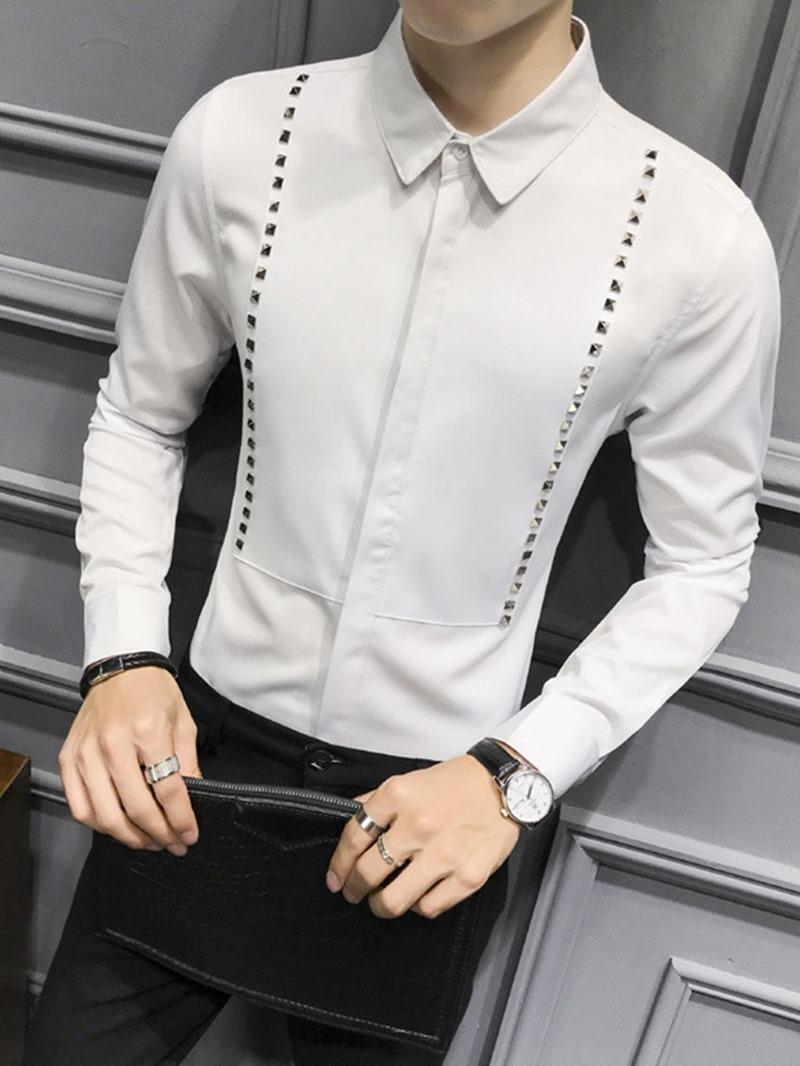 Ericdress Lapel Rivet Plain Slim Single-Breasted Men's Shirt
