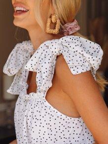 Tied Shoulder Frill Trim Polka Dot Slip Top
