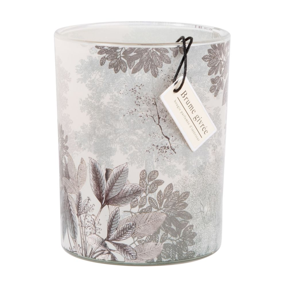 Duftkerze im Glas mit Blumenmotiv, grau