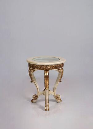 Bellagio Collection Luxury Round End Table  Mahogany Wood Solid  Hand Made and Hand Carved  in Beige and Dark Gold