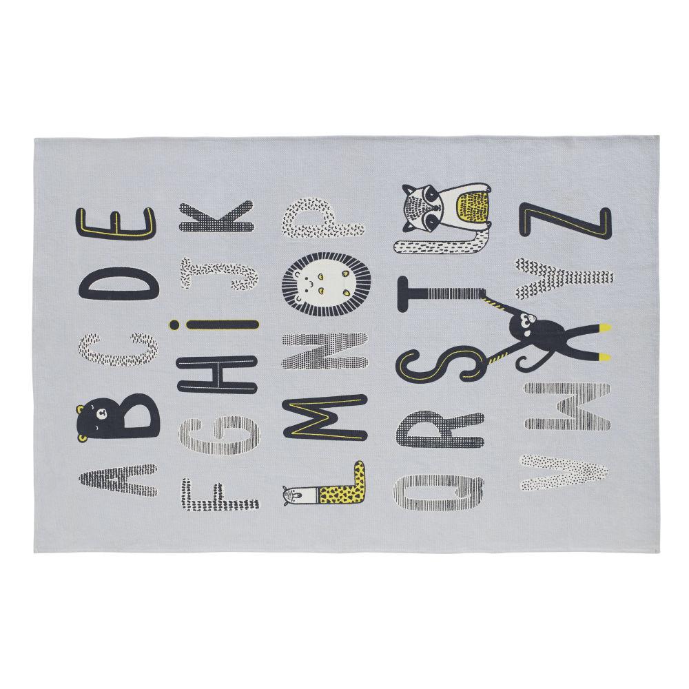 Baumwollteppich mit ABC-Print, grau 120x180